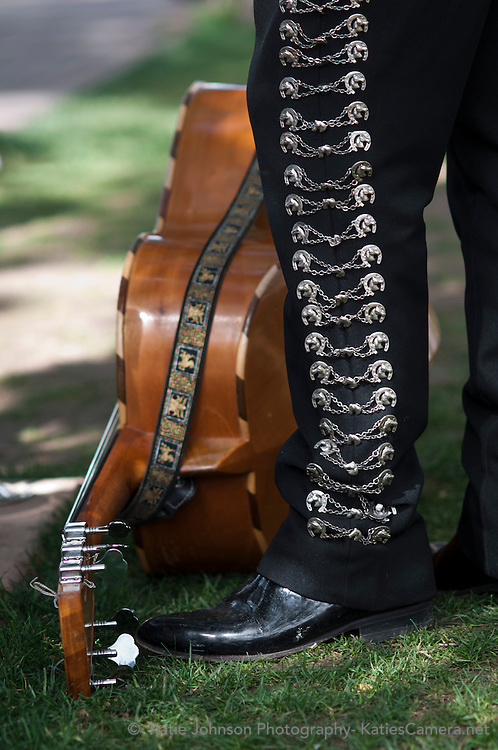 Detail of the pant leg of a Mariachi singer during the Fiesta de Santa Fe in Santa Fe, New Mexico.