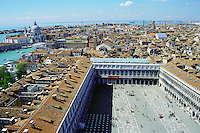 Venice, Italy as seen from the top of the bell tower in San Marcos Square, Venice, Italy.