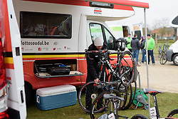 Lotto Soudal mechanics prepare the bikes for the 127 km Omloop van het Hageland on February 26th 2017, starting and finishing in Tielt Winge, Belgium. (Photo by Sean Robinson/Velofocus)