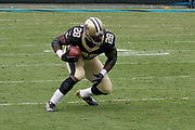 Adrian Peterson(28) receives a screen pass in the New Orleans Saints 34 to 13 victory over the Carolina Panthers.