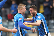 GOAL Bradden Inman celebrates fires Rochdale into a 1-0  during the EFL Sky Bet League 1 match between Rochdale and Portsmouth at Spotland, Rochdale, England on 7 April 2018. Picture by Daniel Youngs.