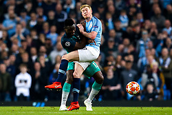 Victor Wanyama of Tottenham Hotspur collides with Kevin De Bruyne of Manchester City - Mandatory by-line: Robbie Stephenson/JMP - 17/04/2019 - FOOTBALL - Etihad Stadium - Manchester, England - Manchester City v Tottenham Hotspur - UEFA Champions League Quarter Final 2nd Leg