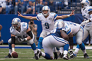 September 11, 2016: Detroit Lions quarterback Matthew Stafford (9) during the week 1 NFL game between the Detroit Lions and Indianapolis Colts at Lucas Oil Stadium in Indianapolis, IN.  (Photo by Zach Bolinger/Icon Sportswire)