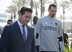 March 30, 2018 - Carson, California, U.S - Zlatan Ibrahimovic #9 of the LA Galaxy arrives with Vice President of Communications, Brendan Hannan to his first practice on Friday March 30, 2018 at the StubHub Center in Carson, California. (Credit Image: © Prensa Internacional via ZUMA Wire)
