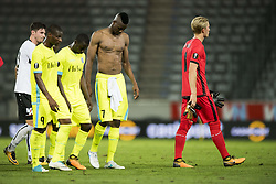 August 3, 2017 - Altach, AUSTRIA - Gent's Mamadou Sylla, Gent's Nana Asare, Gent's Kalifa Coulibaly and Gent's goalkeeper Jacob Rinne shows defeat after a soccer game between Austrian team SC Rheindorf Altach and Belgian club KAA Gent, the return leg of the third qualifying round for the UEFA Europa League competition, Thursday 03 August 2017 in Altach, Austria. The first leg resulted in a 1-1 draw. BELGA PHOTO JASPER JACOBS (Credit Image: © Jasper Jacobs/Belga via ZUMA Press)