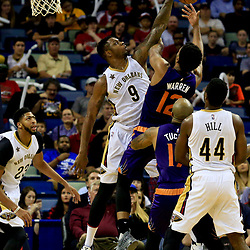 Nov 4, 2016; New Orleans, LA, USA; New Orleans Pelicans forward Terrence Jones (9) blocks a shot by Phoenix Suns forward TJ Warren (12) during the first quarter of a game at the Smoothie King Center. Mandatory Credit: Derick E. Hingle-USA TODAY Sports
