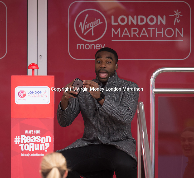 BBC Sport presenter Ore Oduba takes a photo of the start button at Blue Start, Shooters Hill Road, Blackheath. The Virgin Money London Marathon, 23rd April 2017.<br /> <br /> Photo: Joe Toth for Virgin Money London Marathon<br /> <br /> For further information: media@londonmarathonevents.co.uk