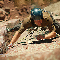 Nick Wilder, Jarrod Weaton and Craig Hoffman climbing in Eldorado Canyon.  Routes: Xanadu and Chockstone  - both 5.10a