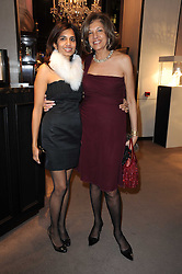 Left to right, DIVIA CADBURY and her mother VIMLA LALVANI at a party to celebrate the publication of Nathalie von Bismarck's book 'Invisible' held at Asprey, 167 New Bond Street, London on 9th December 2010.