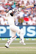 Moeen Ali plays a pull shot during day three of the Australia v England fourth test at the Melbourne Cricket Ground, Melbourne, Australia on 28 December 2017. Photo by Mark  Witte.