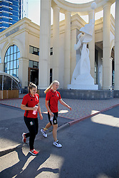 ASTANA, KAZAKHSTAN - Saturday, September 16, 2017: Wales' Alice Griffiths and Elise Hughes on a team walk in Astana ahead of the FIFA Women's World Cup 2019 Qualifying Round Group 1 match against Kazakhstan. (Pic by David Rawcliffe/Propaganda)