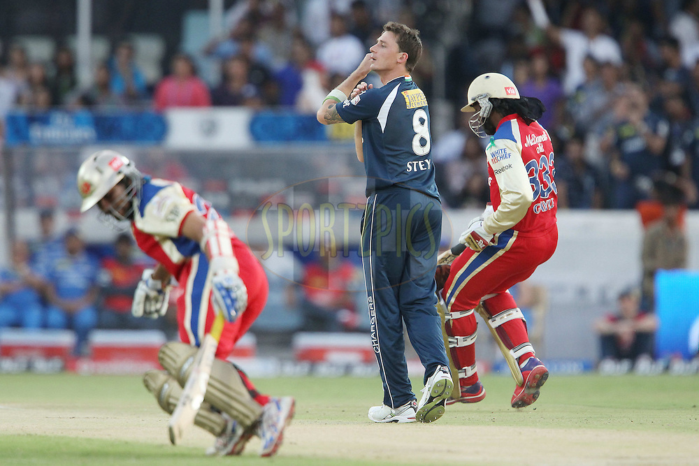 Dale Steyn reacts after bowling to Chris Gayle during match 71 of the the Indian Premier League ( IPL) 2012  between The Deccan Chargers and the Royal Challengers Bangalore held at the Rajiv Gandhi Cricket Stadium, Hyderabad on the 20th May 2012..Photo by Ron Gaunt/IPL/SPORTZPICS