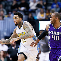 06 March 2017: Denver Nuggets forward Wilson Chandler (21) drives past Sacramento Kings guard Arron Afflalo (40) during the Denver Nuggets 108-96 victory over the Sacramento Kings, at the Pepsi Center, Denver, Colorado, USA.