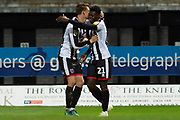 Grimsby Town forward Ahkeem Rose celebrates with Grimsby Town defender Andrew Fox as he scores a goal 1-0 during the EFL Sky Bet League 2 match between Grimsby Town FC and Crawley Town at Blundell Park, Grimsby, United Kingdom on 17 November 2018.