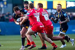 Francois Venter of Worcester Warriors is tackled - Mandatory by-line: Robbie Stephenson/JMP - 30/11/2019 - RUGBY - Sixways Stadium - Worcester, England - Worcester Warriors v Sale Sharks - Gallagher Premiership Rugby