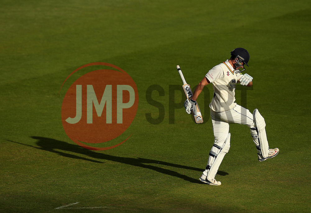 Durham's Michael Richardson kicks out in frustration after getting out to Middlesex's James Harris - Photo mandatory by-line: Robbie Stephenson/JMP - Mobile: 07966 386802 - 03/05/2015 - SPORT - Football - London - Lords  - Middlesex CCC v Durham CCC - County Championship Division One