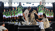 STELLENBOSCH, SOUTH AFRICA - Wednesday 20 January 2016, players on stage with Phoenix the cheetah during the launch of Springbok 7's new jersey with Steinhoff International as sponsor at the Markotter Indoor facility in Stellenbosch.<br /> Photo by Roger Sedres/ImageSA