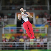 Gymnastics - Olympics: Day 1  Danell Leyva #194 of the Unites States in action on the Horizontal Bar during the Men Qualification round in the Artistic Gymnastics competition at the Rio Olympic Arena on August 6, 2016 in Rio de Janeiro, Brazil. (Photo by Tim Clayton/Corbis via Getty Images)