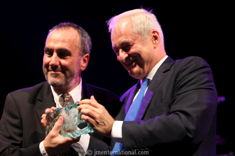 David Munns and Paul Gambaccini at the 2011 MITs Award. Held at the Grosvenor Hotel London in aid of Nordoff Robbins and the BRIT School. Monday, Nov.7, 2011