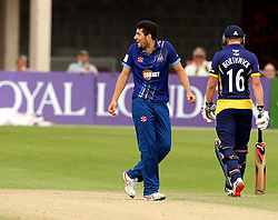 Gloucestershire's Benny Howell celebrates the wicket of Durham's Phil Mustard - Mandatory by-line: Robbie Stephenson/JMP - 07966386802 - 04/08/2015 - SPORT - CRICKET - Bristol,England - County Ground - Gloucestershire v Durham - Royal London One-Day Cup