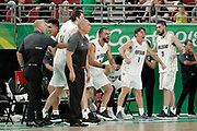 14th April 2018, Gold Coast Convention and Exhibition Centre, Gold Coast, Australia; Commonwealth Games day 10, Basketball, Mens semi final, New Zealand versus Canada; New Zealands bench encourages their players
