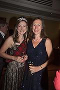 MRS. MARK FREY; LIZ COWPE-COLES, The Royal Caledonian Ball 2015. Grosvenor House. Park Lane, London. 1 May 2015.