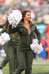 Dec 2, 2012; East Rutherford, NJ, USA; A member of the New York Jets Flight Crew perfumes during the first half of the game between the New York Jets and the Arizona Cardinals at MetLIfe Stadium.