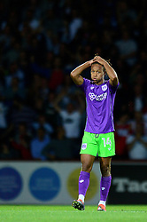 Bobby Reid of Bristol City cuts a dejected figure as Neal Maupay of Brentford scores to make it 2-1 - Mandatory by-line: Dougie Allward/JMP - 15/08/2017 - FOOTBALL - Griffin Park - Brentford, England - Brentford v Bristol City - Sky Bet Championship