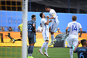 Chris Wondolowski of the )San Jose Earthquakes celebrates after scoring a goal at the 20-minute  mark against NYCFC during a MLS soccer game, Saturday, Sept. 14, 2019, in New York.NYCFC defeated San Jose Earthquakes 2-1.(Errol Anderson/Image of Sport)
