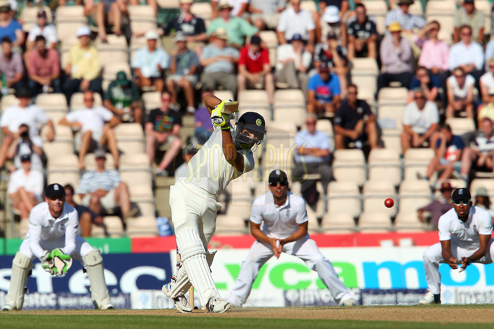 Ravindra Jadeja of India drives a four down the ground during day three of the third Investec Test Match between England and India held at The Ageas Bowl cricket ground in Southampton, England on the 29th July 2014<br /> <br /> Photo by Ron Gaunt / SPORTZPICS/ BCCI