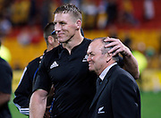 Brad Thorn gives Graham Henry a hug.<br />