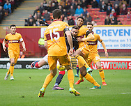 Marcus Haber scores Dundee's second goal - Motherwell v Dundee in the Ladbrokes Scottish Premiership at Fir Park, Motherwell.Photo: David Young<br /> <br />  - &copy; David Young - www.davidyoungphoto.co.uk - email: davidyoungphoto@gmail.com