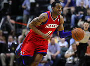 March 14, 2012; Indianapolis, IN, USA; Philadelphia 76ers small forward Andre Iguodala (9) brings the ball up court against the Indiana Pacers at Bankers Life Fieldhouse. Indiana defeated Philadelphia 111-94. Mandatory credit: Michael Hickey-US PRESSWIRE