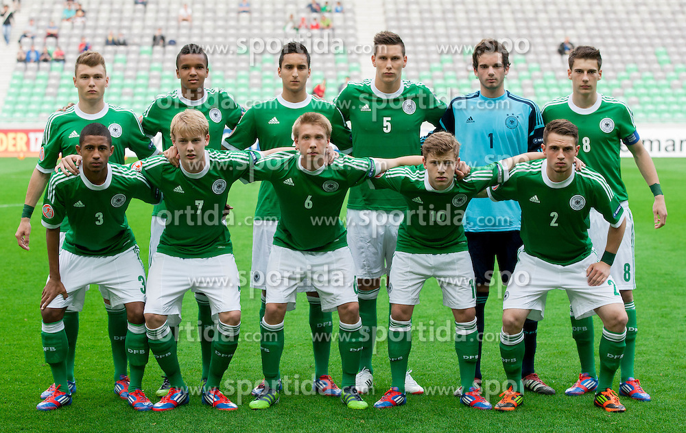 Team photo of Germany: (standing row L-R) Maximilian Dittgen of Germany, Marian Sarr of Germany, Said Benkarit of Germany, Niklas Suele of Germany, Oliver Schnitzler of Germany, Leon Goretzka of Germany; (first row L-R) Jeremy Dudziak of Germany, Julian Brandt of Germany, Nico Brandenburger of Germany, Maximilian Meyer of Germany, Pascal Itter of Germany during the UEFA European Under-17 Championship Group A match between Georgia and Germany on May 4, 2012 in SRC Stozice, Ljubljana, Slovenia. Germany defeated Georgia 1-0. (Photo by Vid Ponikvar / Sportida.com)