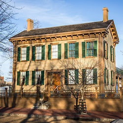 Picture of Abraham Lincoln home in Springfield, Illinois. The Lincoln house is part of the Lincoln Home National Historic Site which includes several blocks of houses.  The home is a landmark and in listed on the National Register of Historic Places.