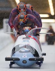 20.02.2016, Olympiaeisbahn Igls, Innsbruck, AUT, FIBT WM, Bob und Skeleton, Herren, Viererbob, 1. Lauf, im Bild Yunjong Won, Jinsu Kim, Kyunghyun Kim, Jeahan Oh (KOR) // Yunjong Won Jinsu Kim Kyunghyun Kim Jeahan Oh of Republic of Korea competes during Four-Man Bobsleigh 1st run of FIBT Bobsleigh and Skeleton World Championships at the Olympiaeisbahn Igls in Innsbruck, Austria on 2016/02/20. EXPA Pictures © 2016, PhotoCredit: EXPA/ Johann Groder