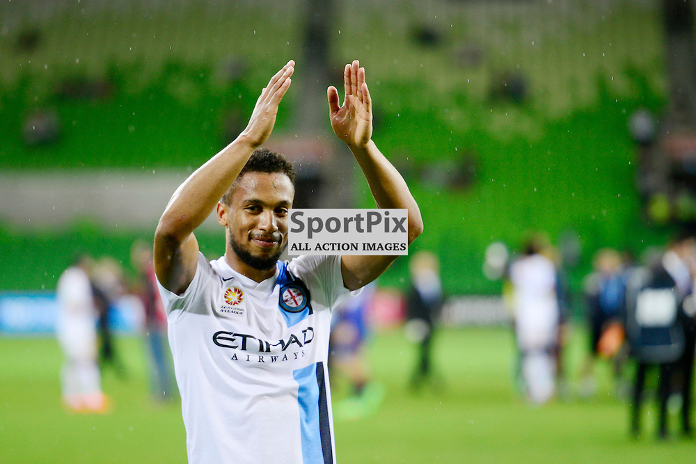 Harry Novillo (Melbourne City) celebrate in the fan zone the final score of 4:0 to City in the- Hyundai A-League, 14th March 2015, RD 21- match between Melbourne City FC v Newcastle Jets at Aami Park, Melbourne Australia. © Mark Avellino | SportPix.org.uk