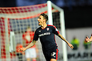 Rotherham United forward Matt Derbyshire celebrates the opening goal to give the visitors a 1-0 lead during the Sky Bet Championship match between Bristol City and Rotherham United at Ashton Gate, Bristol, England on 5 April 2016. Photo by Graham Hunt.