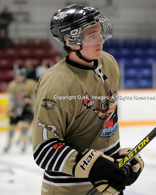 TRENTON, ON - Nov 1 : Ontario Junior Hockey League Game Action between Trenton Golden Hawks and Burlington Cougars, Tyler Sehovic #77 of the Trenton Golden Hawks Hockey Club<br /> (Photo by Amy Deroche / OJHL Images)