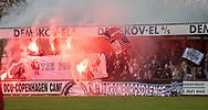 FC Helsingør-fans fejrer det sene sejrsmål under kampen i 2. Division mellem Boldklubben Avarta og FC Helsingør den 10. november 2019 i Espelunden (Foto: Claus Birch).