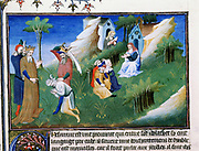 Marco Polo (1254-1324) Venetian traveller. 'Book of Marvels ...' King of Cashmere dispenses justice: scholars meditate.  Early 15th century manuscript illustrated by Masters Boucicaut and Bedford.
