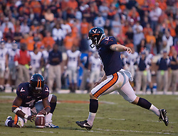 Virginia kicker Chris Gould (9) lines up for the game winning field goal...The Virginia Cavaliers defeated the Connecticut Huskies 17-16 at Scott Stadium in Charlottesville, VA on October 13, 2007