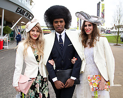 LIVERPOOL, ENGLAND - Friday, April 4, 2014: Liverpool One best dressed judges Lydia Abraham, Prince Cassius and Naomi Rowland during Ladies' Day on Day Two of the Aintree Grand National Festival at Aintree Racecourse. (Pic by David Rawcliffe/Propaganda)