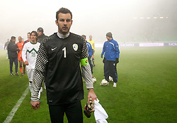 Samir Handanovic of Slovenia during friendly football match between National teams of USA and Slovenia, on November 15, 2011 in SRC Stozice, Ljubljana, Slovenia. USA defeated Slovenia 3-2. (Photo By Vid Ponikvar / Sportida.com)