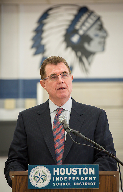 Houston ISD superintendent Dr. Terry Grier announces the new mascot names for Lamar High School, Westbury High School, Welch Middle School and Hamilton Middle Schhool at Hamilton, April 15, 2014.