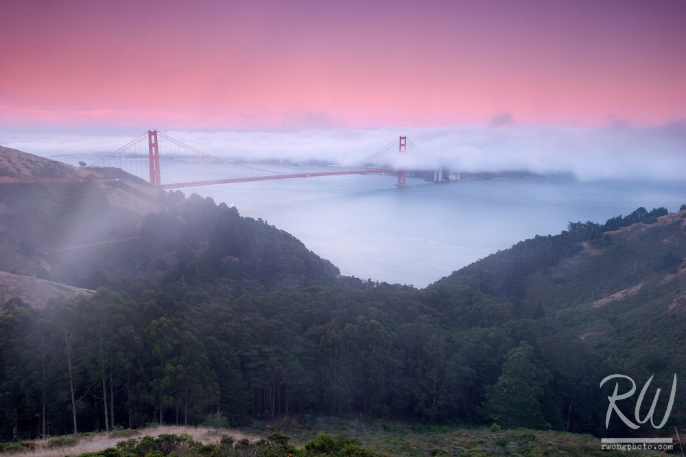 Golden Gate Bridge Twilight Fog, Marin Headlands, California
