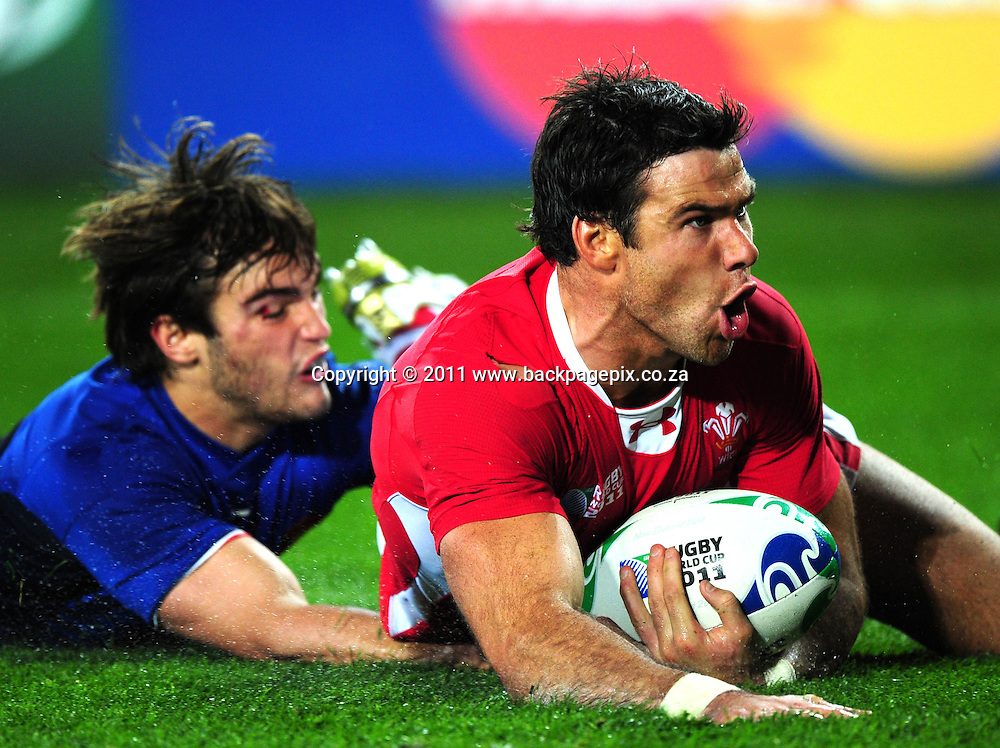 Mike Phillips of Wales scores a try <br /> &copy; Barry Aldworth/Backpagepix