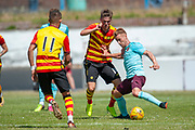 Hearts Ollie Bozanic holds off Partick's Blair Spittal during the Pre-Season Friendly match between Partick Thistle and Heart of Midlothian at Central Park Stadium, Cowdenbeathl, Scotland on 8 July 2018. Picture by Malcolm Mackenzie.