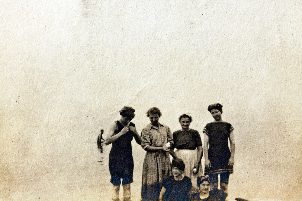 women group standing in the water summer vacationing 1920s