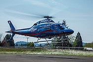 Life Flight helicopter landing at Oregon Aviation Historical Society.